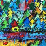"""""""casa nel bosco"""" esercizio con acquarelli, acrilico e carboncino su cartoncino cm15x10"""