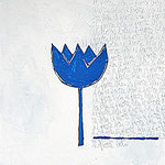 """fiore blu""acrilici,trattoamatita sutelacm30x30"