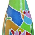 """""""fiori di zucchero"""" (b) acrilici e tratti in rilievo su bottiglia in vetro per spumante"""