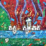 """""""Stagioni (sulle case)"""" colori acrilici, matite e carboncino con tratti a china cm35x45"""