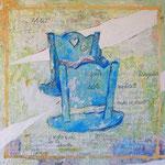 """""""la Culla"""" acrilici e tratto a matita su tavola di legno ricoperto di gesso graffiato cm40x39,5"""