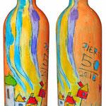"""""""Vino a Festa""""acrilicisu bottiglia di vino trentino per una festa"""