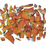 """""""bucce"""" acrilici su pezzi di cartone cm30x24  """"pezzi di cartone colorato sparsi su una tela, possono dare origine ad un Pensiero Libero..."""""""