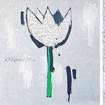 """tulipani blu""acrilicieinserto a matita su tela. Elementi decorativi per cucina cm20x20"