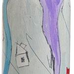 """""""Bottiglia di vino trentino"""" (b) (75cl.) acrilici e tratto a matita su vetro"""