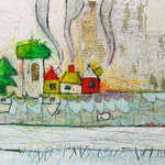 """""""case lungo il Fiume - Gennaio""""  colori acrilici e matite acquarellabile con tratto a matita cm55,5x17"""