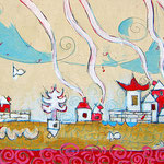 """""""villaggio cinese"""" acrilici su carta incollata a tela con segni a matita cm30x20"""