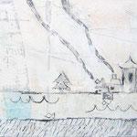"""""""case di grigio""""acrilici e segni a matita su tela ricoperta di stucco graffiatocm50x20"""