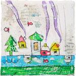 """""""La casa di Elena"""" acrilici e tratto a matita con inserti di carta giornale su tela ricoperta di stucco cm10x10"""