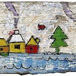 """""""case di un'ultima estate"""" acrilico su vecchia asse di legno con incisioni (part.) cm98,5x9,37"""