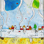"""""""la Cattedrale"""" acrilici su tela ricoperta di gesso acrilico e stucco con inserti di giornale cm30x30 (tre tele cm30x30)"""