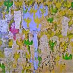 """""""fiore d'oro"""" acrilico e foglia oro su tela cm40x40"""