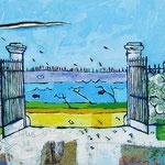 """""""il Cancello, uno sguardo nuovo"""" acrilici e inserti di carta su tela cm40x30"""