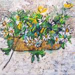 """""""fiori di plastica (Trecate2018)"""" acrilici su cartone d'imballo con segni a matita cm67,5x48,5"""