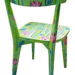 """""""sedie per l'Estate"""" (b) acrilici con tratto a matita e carboncino su legno"""