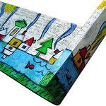 """""""case su mensola""""acrilici, matita e carboncino- part. cm98x21"""