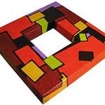 """""""cornicetta pe tavolino"""" carta su legno e acrilico cm24x24"""