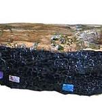 """""""La Nave"""" acrilico e foglia oro su un pezzo di legno trovato in riva al mare cm68x16"""