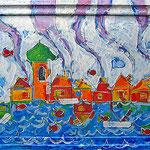 """""""case del... """" acrilico su cartone in vecchia cornice cm68x54 (quattro tentativi)"""