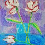 """""""fiori del 10novembre"""" acrilici su cartone con tratti a matita cm52x59,5"""