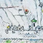 """""""incompleto"""" acrilico su carton gesso con colori acquarello e tratti in matita cm59,5x27"""