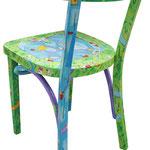 """""""green chair"""" (b) acrilici e tratto a matita su sedia Ikea"""