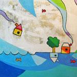 """""""La Casa sul Lago""""  colori acrilici ed inserti di giornale su tela cm50x50 (1)"""