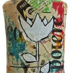 """""""portasapone liquido"""" acrilici su carta giornale cm20x9"""