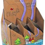 """""""porta lattine (di birra)"""" (a) acrilici e segni a matita su cartone cm19,5x13x29"""