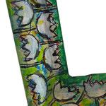 """""""cornice per specchio""""e matita colorata su carta su legno- part. cm63x53"""
