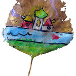 """""""Foglia di Novembre""""acrilicoe verniceall'acqua su foglia staccatasi dalla suola della scarpa (la mia) cm6x4"""