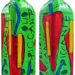 """""""Olio piccante""""acrilicisu bottiglia dell'olio in vetrocon tratto a matita grassa (charcoal) cm28x7"""
