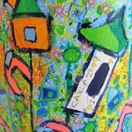 """bidone per carta"" acrilico e carboncino con pennarelli acrilici - part. cm44,5x31,50"
