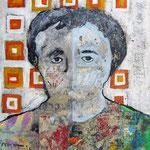 """""""La Donna di Munstair""""  colori acrilici ed inserti di giornale su carton legno cm24x30"""