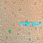 """""""c'é un particolare nel villaggio"""" segni di matita e colore acrilico su vecchio cartone d'imballo cm25x30 - Se riesci a trovare il """"particolare"""" nel disegno, scrivimi."""