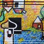"""""""case svizzere"""" acrilico su vecchia cornice cm68x54"""