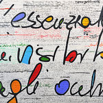 """""""il Muro"""" colori acrilici su carta su tela con inserti a matita e gesso cm80x100"""