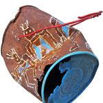 """""""Danza Tribale""""2 acrilici subarattolo arrugginito cm16x12,5 (ritrovato a Cima Uomo-P.sso San Pellegrino, Moena - TN)"""