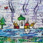 """""""lacrime su lettera"""" acrilico e segni a matita su carta lettere incollata ad una tela cm25x30"""