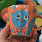"Kindertasse ""Miezi"" Mini in orange Artikel - Nr. 5017/ 14,- € (H 8  ∅ 9 cm)"