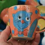 "Kindertasse ""Miezi"" Mini in orange Artikel - Nr. 5017/ 14,- € (H 8  ∅ 9 cm)"