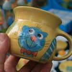"""Kindertasse """"Miezi""""  Mini mit Bauch , Farbe: gelb, Artikel - Nr. 5016/ 14,- € (H 7,5  ∅ 8,5 cm)"""
