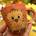 """Kindertasse """"Kleiner Tiger"""" Maxi in orange - Artikel - Nr. 5027/ 15,- € (H 8  ∅ 9 cm, 220 ml"""