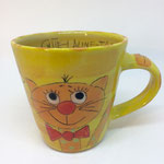 Kindertasse Katzenmotiv Gelb Maxi Artikel - Nr. 5035 (H 8  ∅ 9 cm, 220 ml ) /15,- €