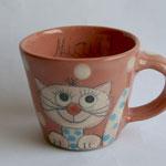 "Kindertasse Mini ""Miez rosa"" / Artikel - Nr. 5034/ 14,- €  ( H 7 cm ∅ 7,5 cm, 170 ml)"