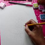 Draw a simple dandelion seed.