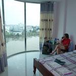 Notre chambre d'hôtel à ra Ghia, avec vue sur le Mékong