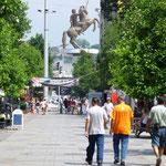 Ce monument est sans doute l'élément le plus emblématique de Skopje 2014. Elle représente Alexandre le Grand, mais à cause d'ennuis diplomatiques avec la Grèce, elle a reçu un nom moins controversé, le grand guerrier à cheval.