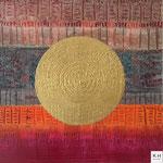 """"""" golderner Kreis """" Acryl/ Mischtechnik auf Canvas Panel, 40x40 cm, 2016"""
