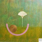 """"""" helles Glück""""  Acryl/ Mischtechnik auf Canvas Panel, 40x40 cm, 2019"""